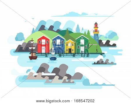 Port sea or ocean harbour. Ship on water, boat and shipping, transport vessel, vector illustration