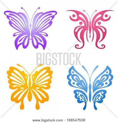 Set of violet, pink, yellow and blue butterflies silhouettes isolated on white background. Vector illustration can be used for tattoo, logo, web, print design, logotype and branding.