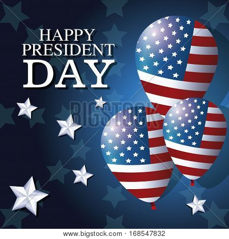 happy president day balloons flag star background vector illustration eps 10