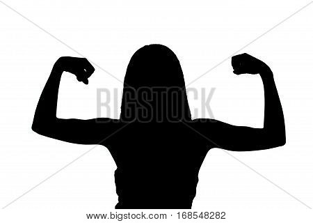 silhouette of a girl showing her muscles