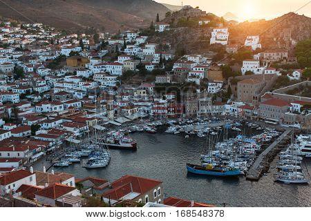Top view of yachts Marina at Hydra island, Aegean sea, Greece.