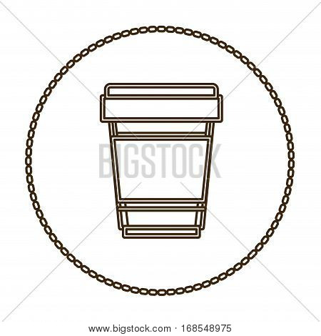 monochrome round contour with disposable glass of cappuccino close up vector illustration