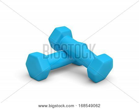 3d rendering of a pair of blue light weight dumbbells isolated on white background. Fitness and health. Sport and exercises. Losing weight.