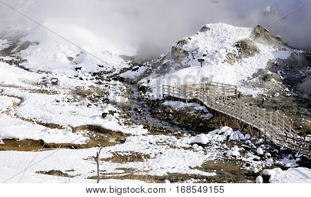 Noboribetsu Onsen Hell Valley And Bridge Snow Winter