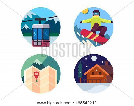 Ski resort set. Ride on snowboard in mountains. Vector illustration. Pixel perfect icons size - 128 px