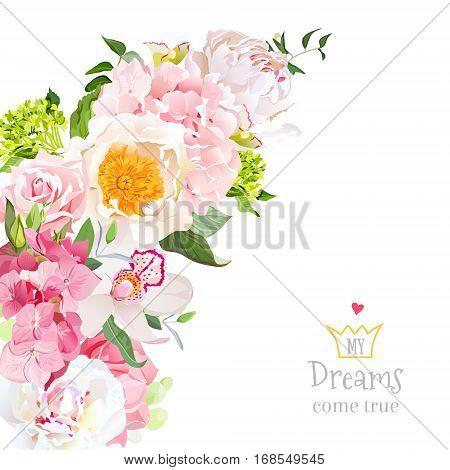 Spring floral mix vector design with peony rose orchid hydrangea eucalyptus on white. Wedding frame. Crescent shape bouquet. Pink yellow and white flowers. All elements are isolated and editable.