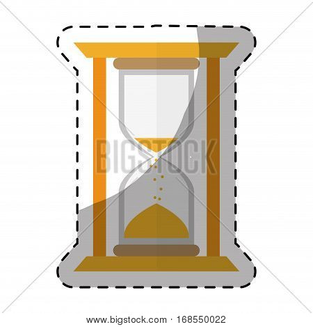 yellow stop watch and hourglass icon design, vector illustration