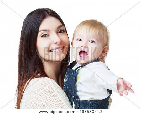 happy mother and baby isolaited against white background