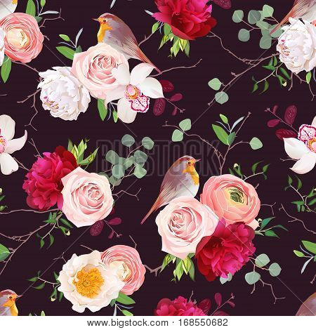 Dark natural vector seamless pattern with robin birds and bouquets of peachy roses white and burgundy red peony orchid eucalyptus green plants mix and ranunculus in japanese style.