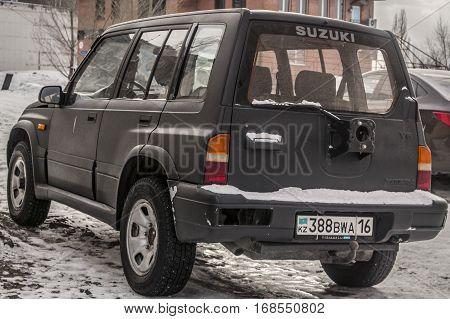 Kazakhstan, Ust-Kamenogorsk, 22 january, 2017: Suzuki Vitara, side view, black car