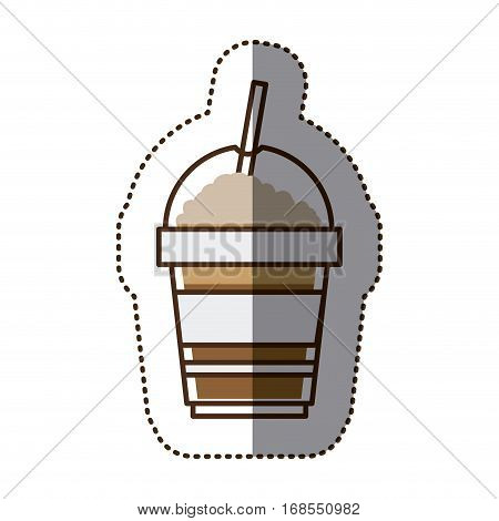 silhouette color sticker with disposable glass of cappuccino with straw vector illustration