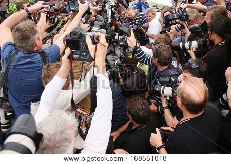 Photographers attends the 'Gimme Danger' photocall during the 69th annual Cannes Film Festival at Palais des Festivals on May 19, 2016 in Cannes, France.