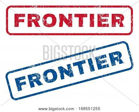 Frontier text rubber seal stamp watermarks. Vector style is blue and red ink tag inside rounded rectangular banner. Grunge design and dust texture. Blue and red stickers.