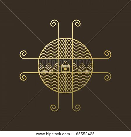 Vector icon of nature, logo element in liner ethno style on dark background. Natural and ecology concepts or for jewerly design.