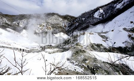 Noboribetsu Onsen And Bridge Hell Valley Snow Winter