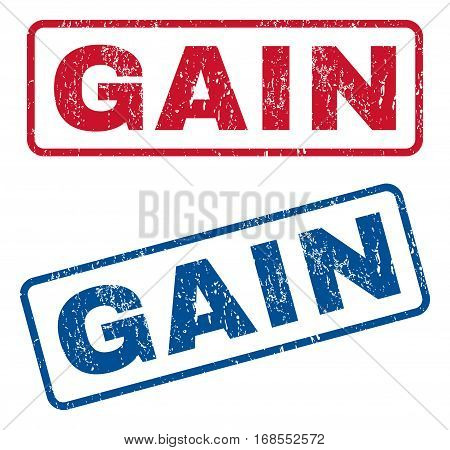 Gain text rubber seal stamp watermarks. Vector style is blue and red ink caption inside rounded rectangular banner. Grunge design and dirty texture. Blue and red emblems.