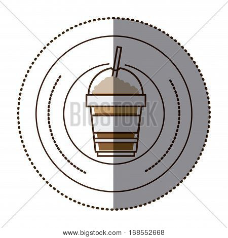 color sticker in circular frame with disposable glass of cappuccino with straw vector illustration