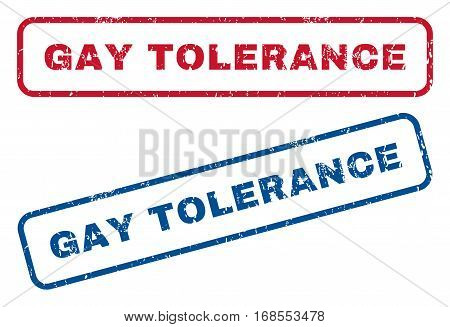 Gay Tolerance text rubber seal stamp watermarks. Vector style is blue and red ink tag inside rounded rectangular shape. Grunge design and dirty texture. Blue and red stickers.