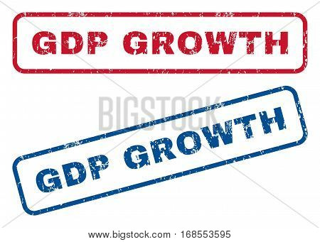GDP Growth text rubber seal stamp watermarks. Vector style is blue and red ink caption inside rounded rectangular shape. Grunge design and unclean texture. Blue and red emblems.