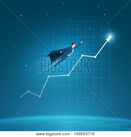 Business concept  illustration. Businessman is flying on graph.