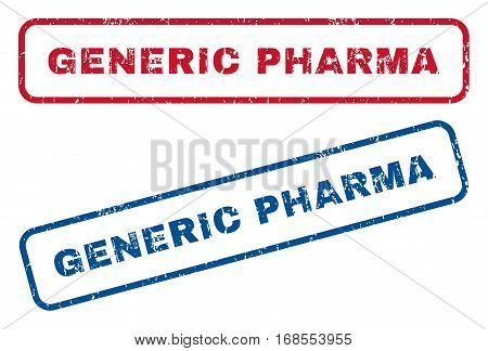 Generic Pharma text rubber seal stamp watermarks. Vector style is blue and red ink caption inside rounded rectangular shape. Grunge design and dust texture. Blue and red signs.