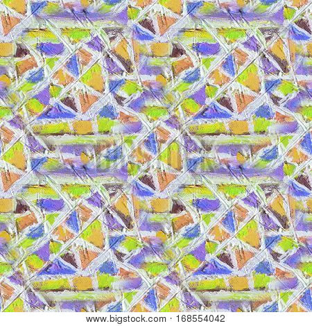 Mosaic seamless pattern. Abstract stained-glass mosaic background. Geometric pattern background.