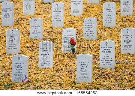 ARLINGTON, USA - DECEMBER 01, 2013: The tombstones in Autumn at Arlington National Cemetery near to Washington DC United States.