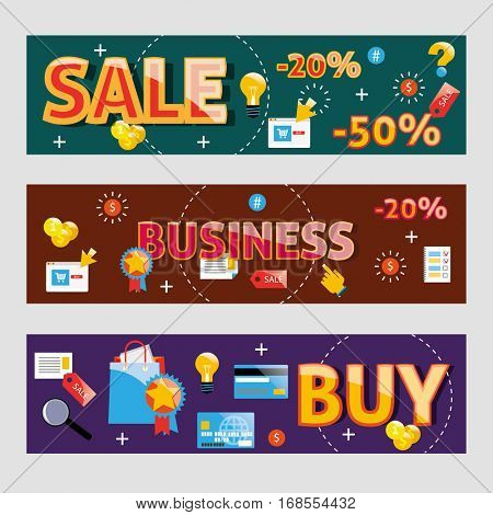 Business words modern design vector concept web banners.