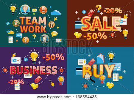 Business words modern design vector concept flat illustrations.