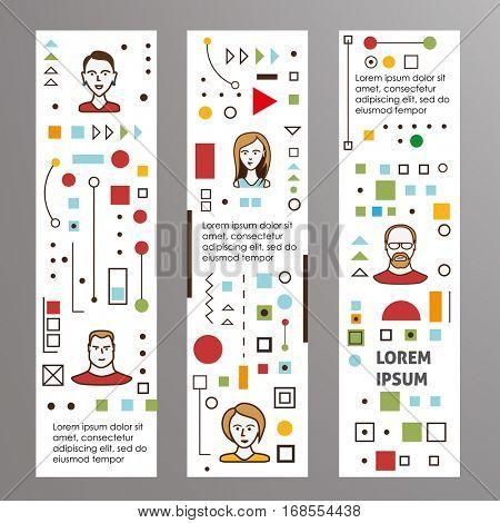 Creative idea banners. Business concept flat line art. Vector illustrations set.