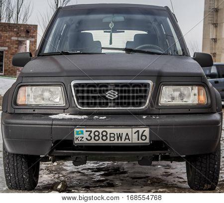 Kazakhstan, Ust-Kamenogorsk, 22 january, 2017: Suzuki Vitara, front  view, black car