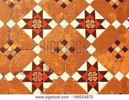 Old tiled floor in Shwedagon Zedi Daw (Great Dagon Pagoda, Golden Pagoda), Yangon, Myanmar