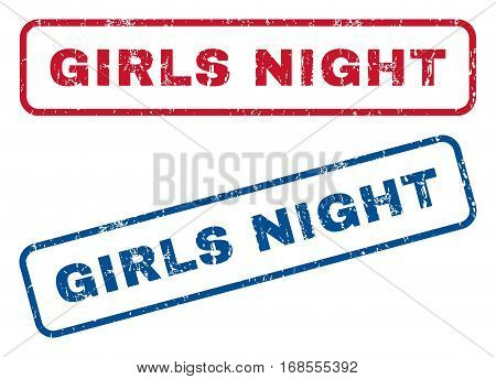 Girls Night text rubber seal stamp watermarks. Vector style is blue and red ink tag inside rounded rectangular shape. Grunge design and scratched texture. Blue and red signs.
