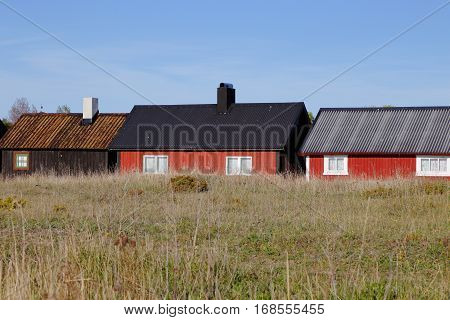 Fishing huts in the fishing village Gnisvard located in the Swedish province of Gotland.