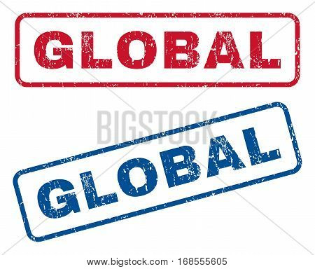 Global text rubber seal stamp watermarks. Vector style is blue and red ink caption inside rounded rectangular shape. Grunge design and scratched texture. Blue and red stickers.