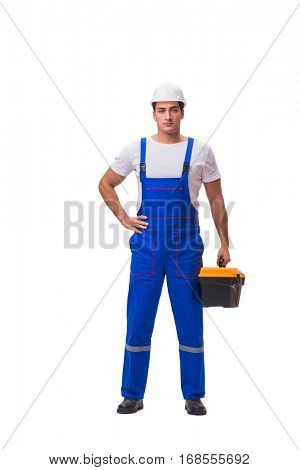 Man with toolbox isolated on white