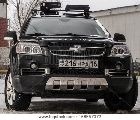 Kazakhstan, Ust-Kamenogorsk, 22 january, 2017: Chevrolet Captiva, front view, black car