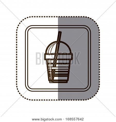 monochrome sticker contour in square frame with disposable glass of cappuccino with straw vector illustration