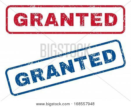 Granted text rubber seal stamp watermarks. Vector style is blue and red ink tag inside rounded rectangular banner. Grunge design and dust texture. Blue and red emblems.