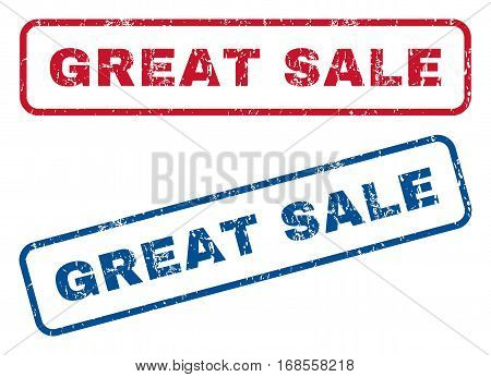 Great Sale text rubber seal stamp watermarks. Vector style is blue and red ink tag inside rounded rectangular shape. Grunge design and scratched texture. Blue and red stickers.