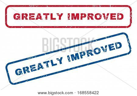 Greatly Improved text rubber seal stamp watermarks. Vector style is blue and red ink caption inside rounded rectangular shape. Grunge design and unclean texture. Blue and red emblems.