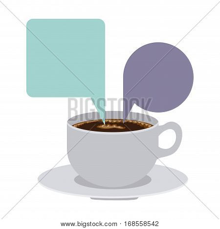 set porcelain cup coffee with dialogue callout box vector illustration