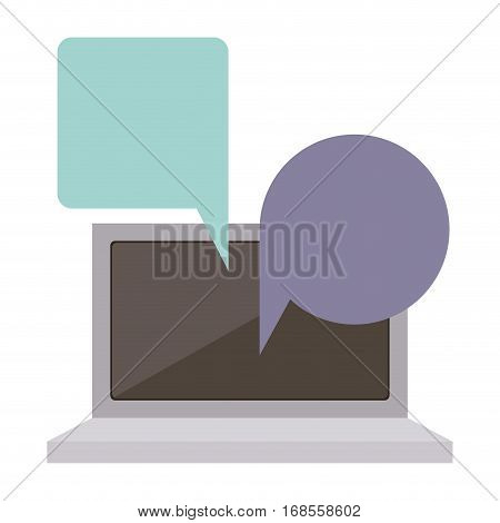 tech laptop screen with keyboard with dialogue callout box vector illustration