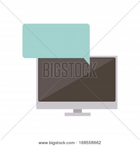 tech screen computer in wide flat dialogue callout box vector illustration