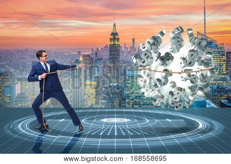 Businessman saving american dollar concept