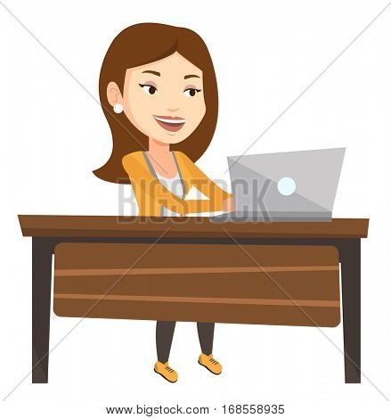 Caucasian office worker sitting at the table and using laptop. Young happy office worker working on laptop. Cheerful office worker at work. Vector flat design illustration isolated on white background