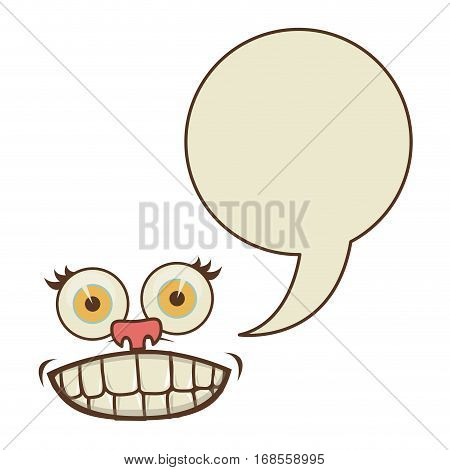 face cartoon gesture with dialogue circular box vector illustration
