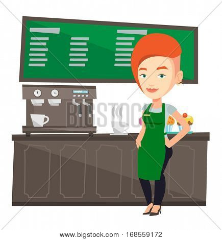 Caucasian friendly female barista sanding in front of coffee machine. Female barista at coffee shop. Female barista making a cup of coffee. Vector flat design illustration isolated on white background