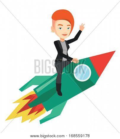 Businesswoman flying on business start up rocket. Caucasian businesswoman on business start up rocket waving. Business start up concept. Vector flat design illustration isolated on white background.