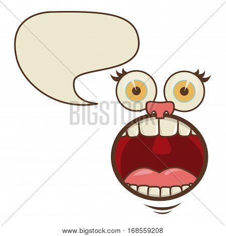 face cartoon gesture with dialog irregular box vector illustration